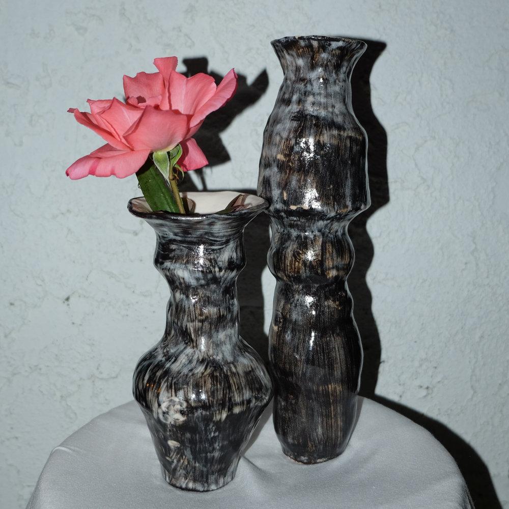 Eve Vases   Handbuilt porcelain with slip and glaze. 2018.