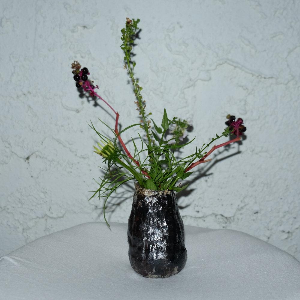 Spooky Bud Vase   Handbuilt porcelain with oxide wash. 2018