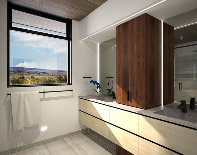Ellensburg House inter design is in progress with these latest illustrations of the master bath . . . . #archinect #seattlearchitects #architizer #ellensburg #houzz #pnwarchitecture #modernhome #interiordesign