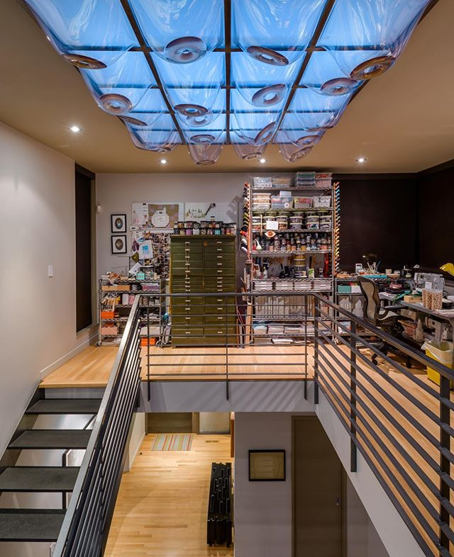 House of Planes has a large skylight with art installation by Leo Saul Berk.  View from second floor art studio. . . . . #leoberk #archinect #seattlearchitects #architizer #modernhome #dezeen #graymagazine #pnwarchitecture #houzz #seattletimes #interiordesign