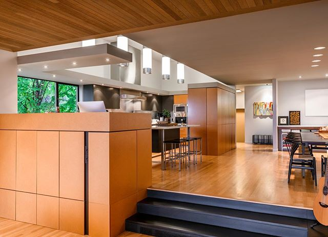 House of Planes kitchen, with art by Leo Saul Berk in entry hall beyond. . . . . . #leoberk #archinect #seattlearchitects #architizer #dwell #graymagazine #pnwarchitecture #houzz #modernhome #interiordesign