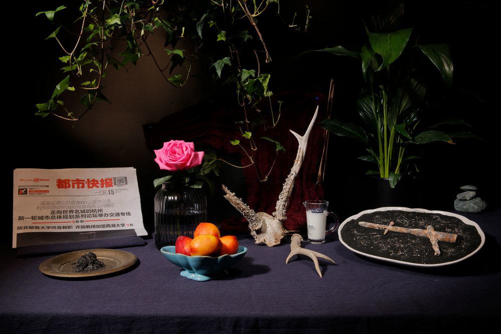 邵睿璐,《不要害怕生或死,你早已见过许多》,2018年。  互动性延时静物摄影+静物陈列  图片由艺术家提供。