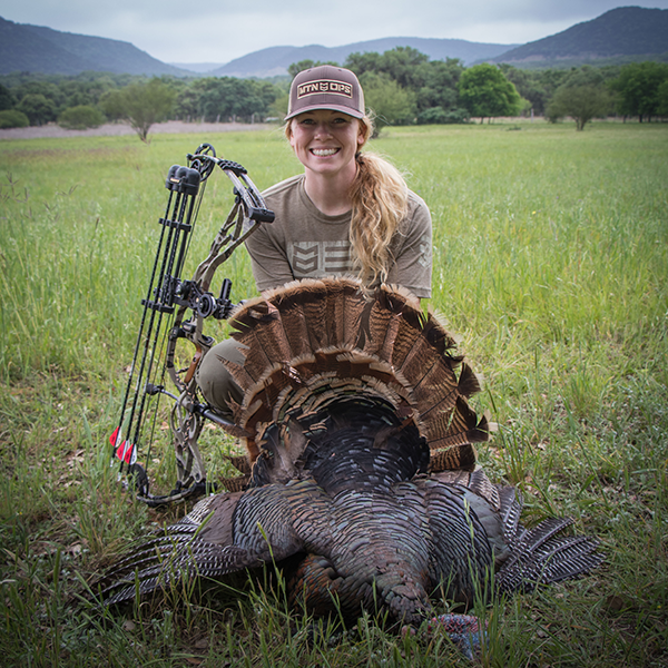 Jessica with Turkey at Droptine Hunting
