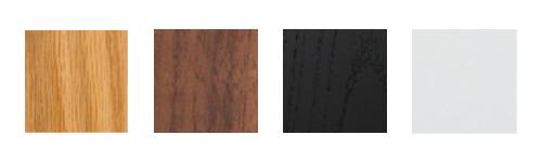 - Natural Oak, American Walnut, Black Oak and Satin White