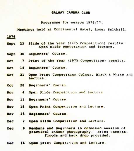 1976 Club Program of Events