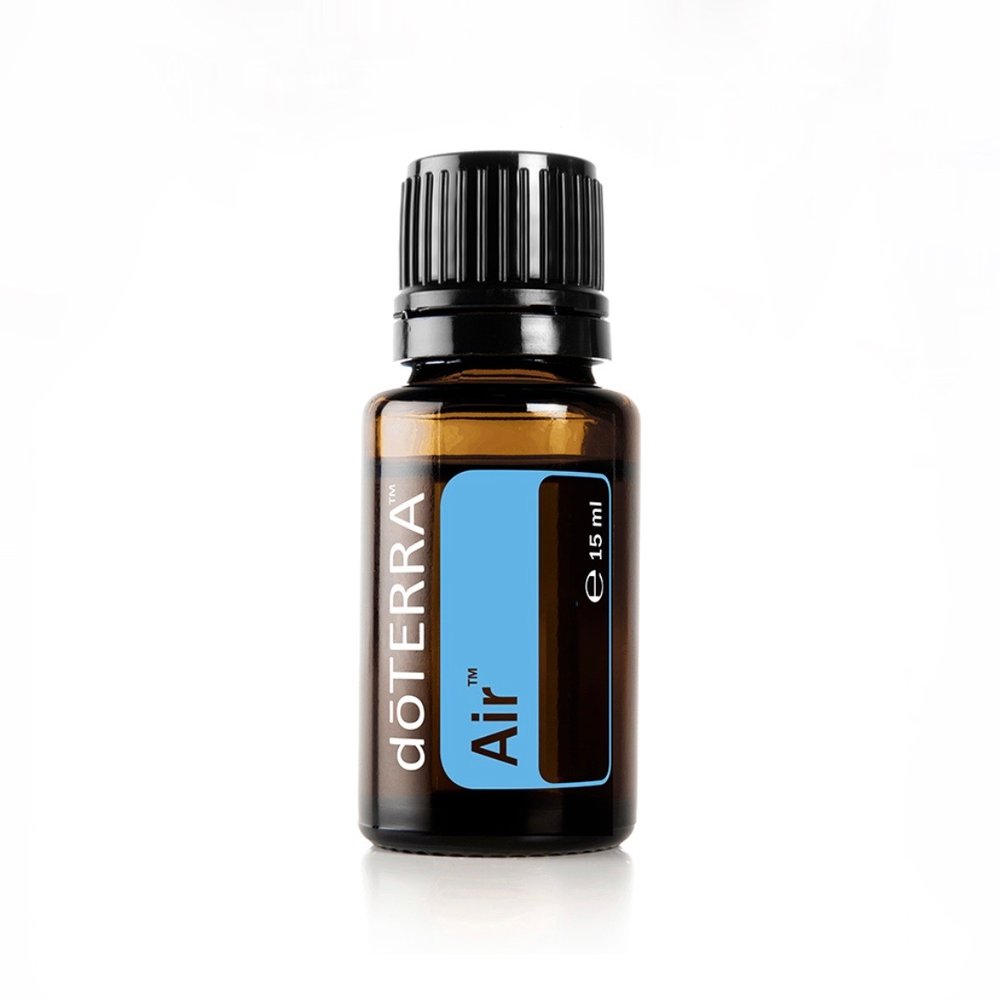 Air - Clearing blend. Maintains feelings of clear airways and easy breathing. Cooling and invigorating.Add one drop under your nose before a yoga class or a work out session.Apply 1 drop of doTERRA Air in a carrier oil to your chest to help cool, invigorate, and promote feelings of easy breathing.Diffuse in your bedroom when you are sleeping. Add 5 drops in the diffuser, or 3 drops of Breathe and 2 drops of Lavender