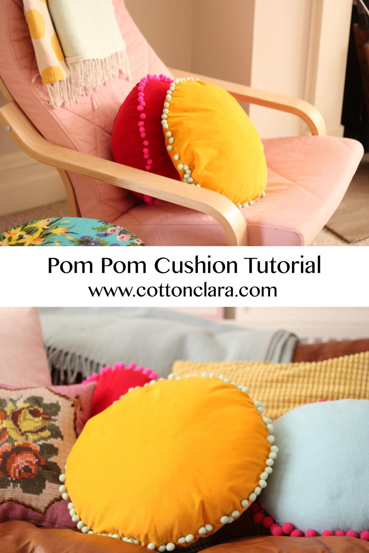 Pom Pom Cushion Tutorial by Cotton Clara