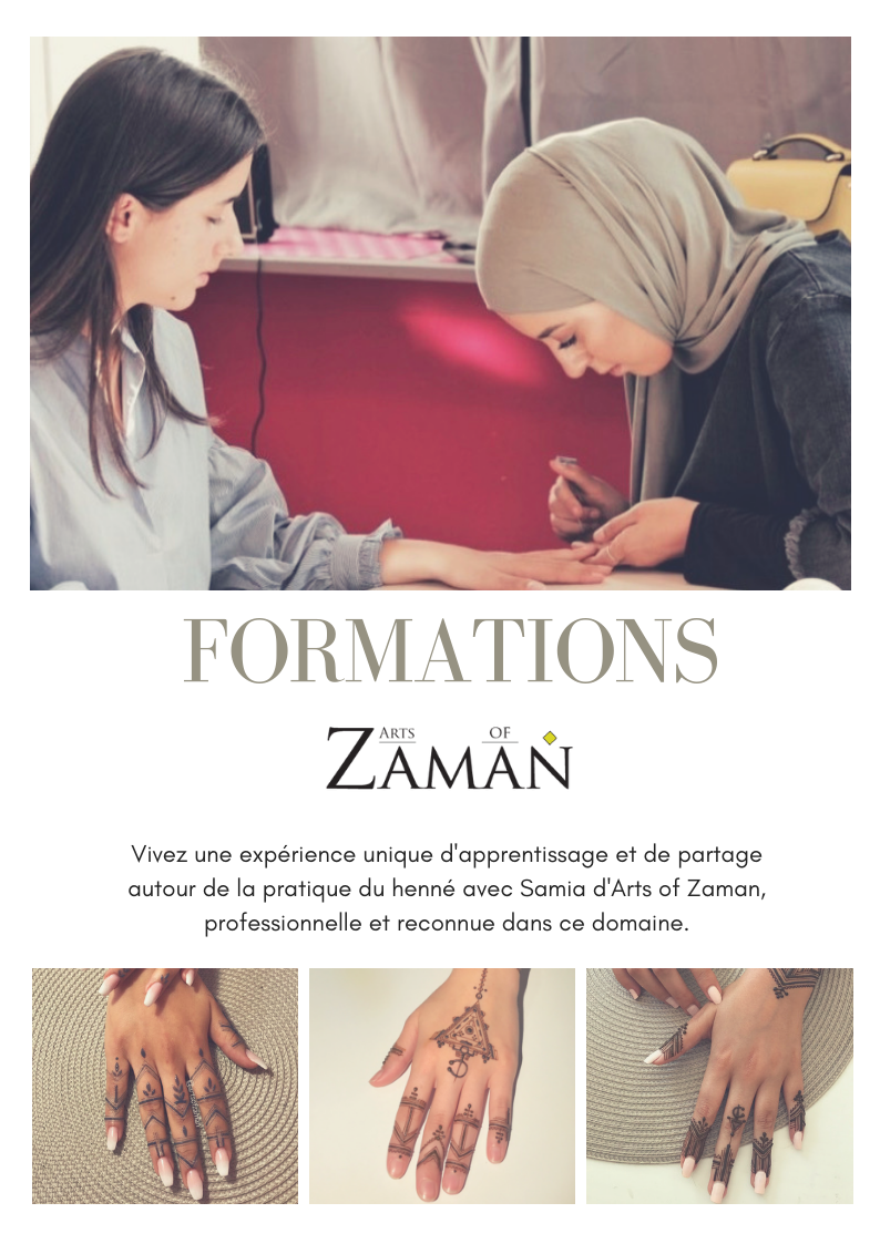 Découvrez l'art du henné avec Samia d'Arts of Zaman. Une formation exclusive destinée tant aux amateurs et qu'aux professionnels. - Place très limitées. Inscrivez-vous ICI sur la liste d'attente.