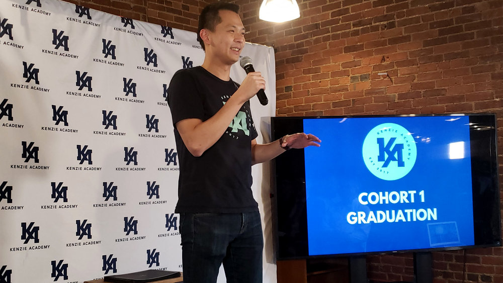 Co-Founder and CEO of Kenzie Academy, Chok Ooi, addressing Cohort 1