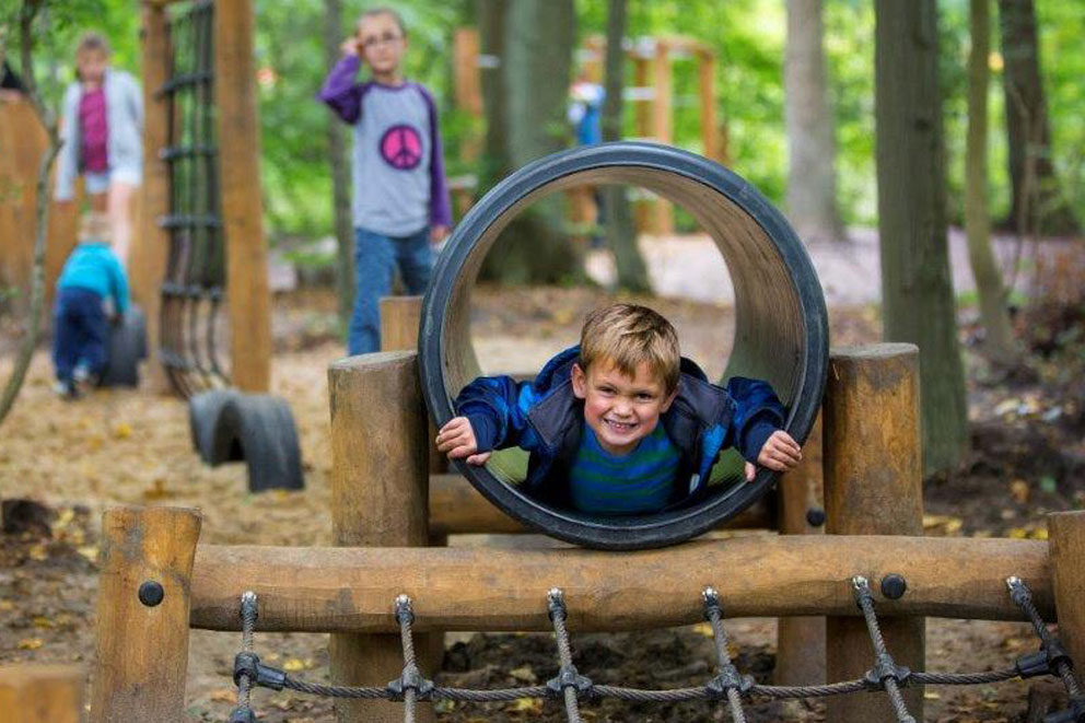 timber play - tunnels and slides