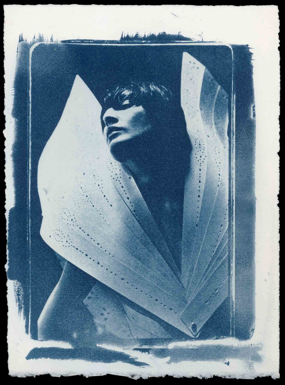 Ann Ray,  Erin as Angel , London, 1998 (N° 13, Erin O'Connor, cyanotype by the artist). Courtesy of the artist.