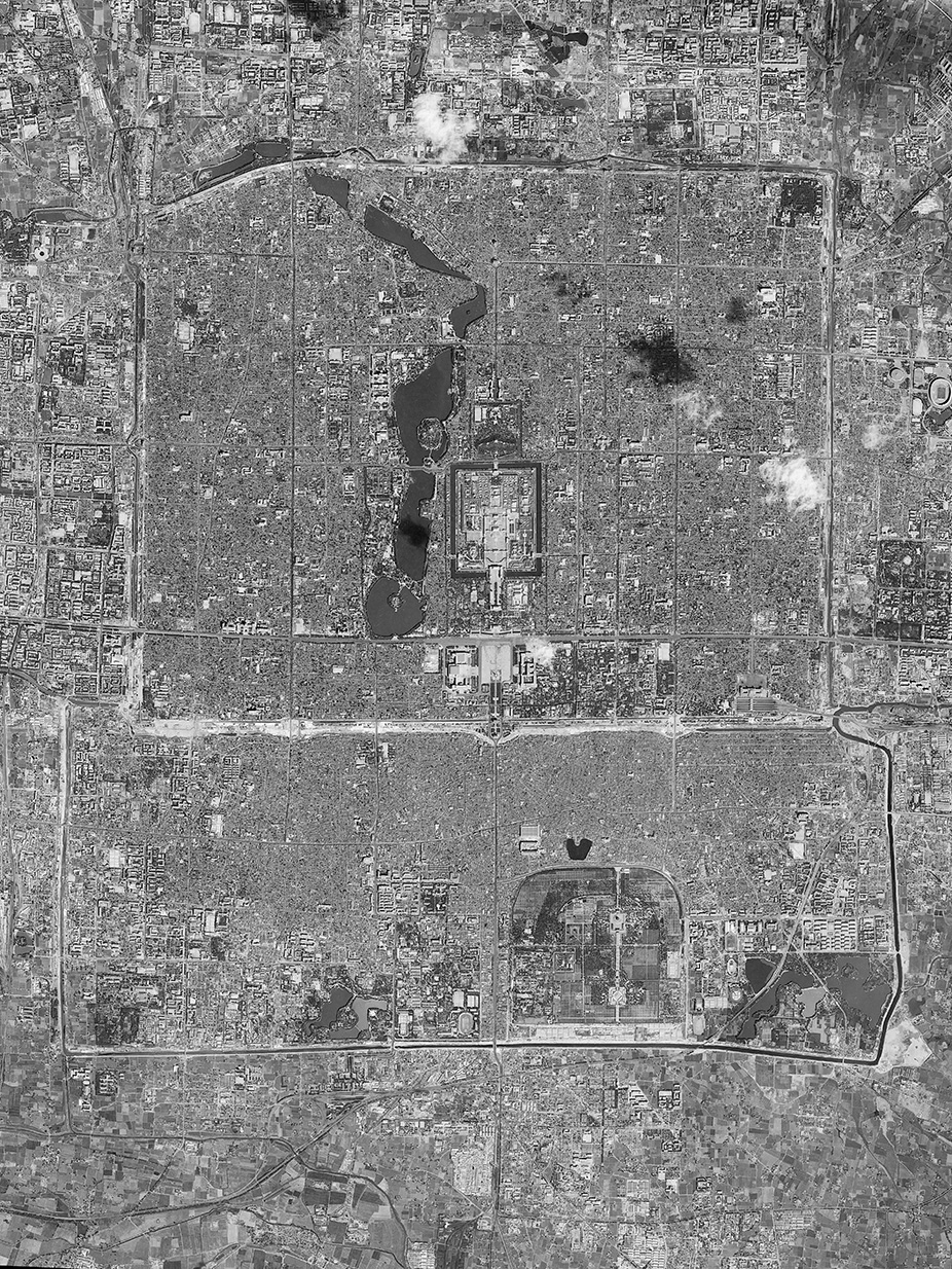 Beijing. September 21, 1966 . US KH-7 Satellite Photo. Mission Pilot Tiger Wang. From the exhibition  Eyes of Sky - 1950's and 1960's Aerial Photos of Southeastern Coastal Cities of China , proposed by Xu Lin. Courtesy of U.S. National Archives.