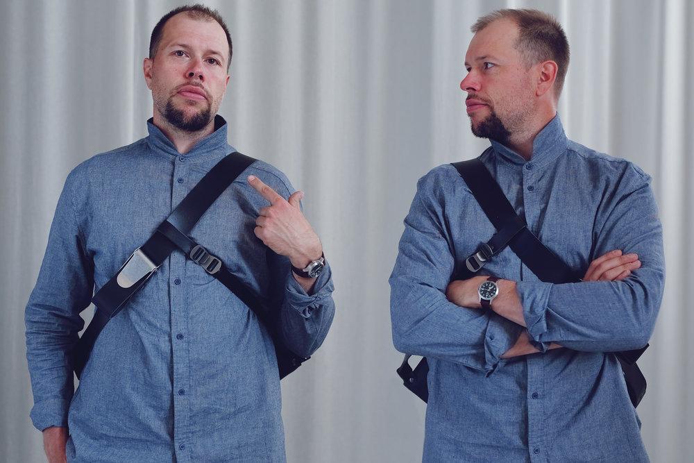 Left side = when shoulder strap is worn over left shoulder. Right side = when shoulder strap is worn over right shoulder.
