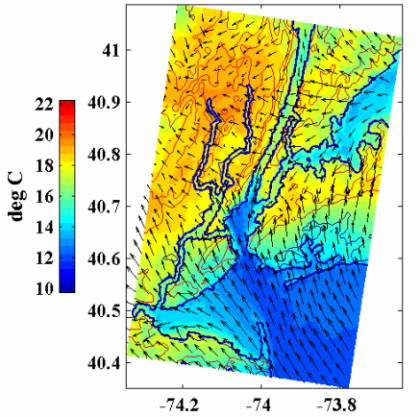 2-m air temperature and 10-m wind velocity in the afternoon of a sea breeze event on April 18, 2005.  The land-sea temperature contrast drives the onshore sea breeze.  Local spatial variations in sea surface temperature (SST) can leave a signature on the sea breeze, especially when complex coastlines create multiple sea breeze fronts (e.g., the sea breeze penetrating from Long Island Sound in the image above).