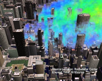 Large eddy simulation (LES) showing contaminant release near Rockefeller Center, NYC. Winds are from the west, and Bryant Park and the NYC public library are visible in the foreground. The model has 6-m horizontal and vertical resolution. (Visualization by Bob Doyle)