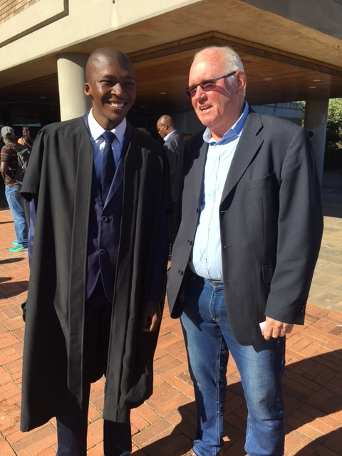 Olwethu & Jock at Olwethu's BSc Graduation      how to support owlethu   Financial Assistance Needed:    Approximately R500,000   Other Assistance Needed:   (Paid) student accommodation in London (from Sep 2018)  Part-time work in London (from Sep 2018)