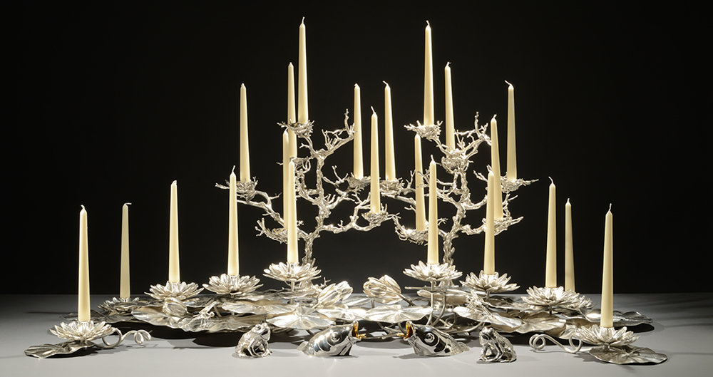 Lily Pad Centrepiece and Coral Candelabrum. - Comprising of sterling silver Lotus Flower Candle Holders, Lily Pads, Fish Head Salt Cellars and Frog Pepper Pots.