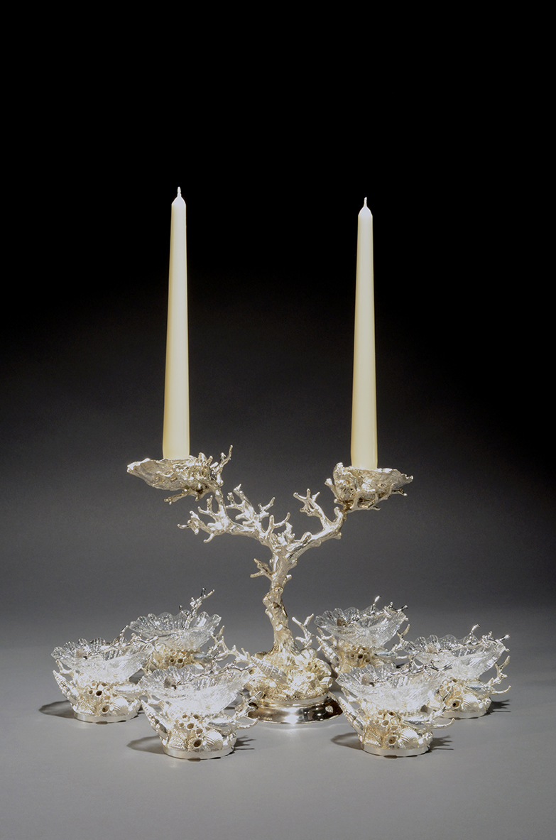 Coral Candelabrum and Cast Glass Shell Salt Cellars -