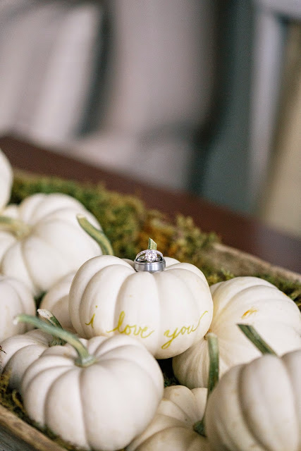 les fleurs : white mini pumpkins : solitaire diamond ring