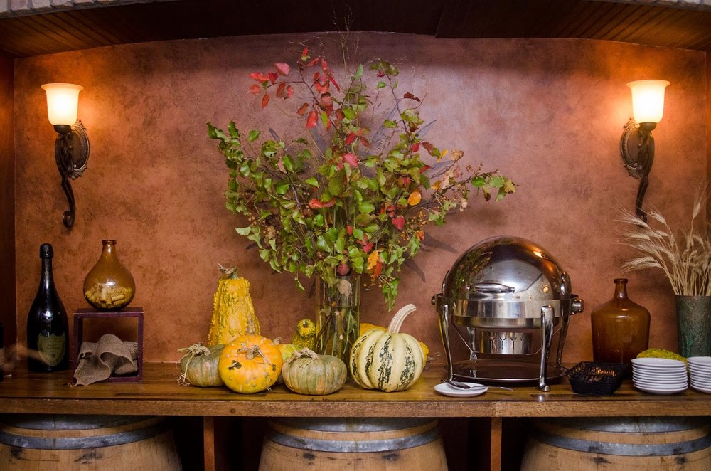 les fleurs : tuscan kitchen wine cellar : fall foliage : pumpkins and gords : men's birthday dinner : fall
