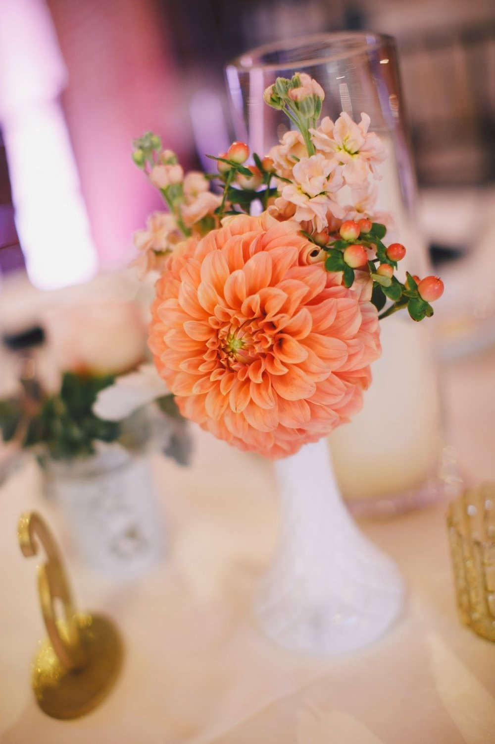 les fleurs : red lion inn : jess jolin photography : hob nail vintage glass vase : dahlia, garden rose, stock, dusty miller : peach, coral, sea foam green : small collection of vases for the tables