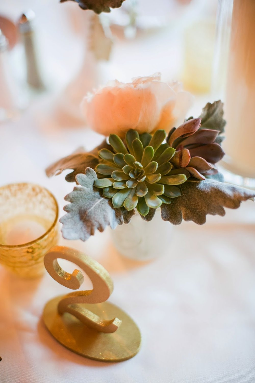 les fleurs : jess jolin photography : red lion inn : gold table numbers : succulents, dusty miller