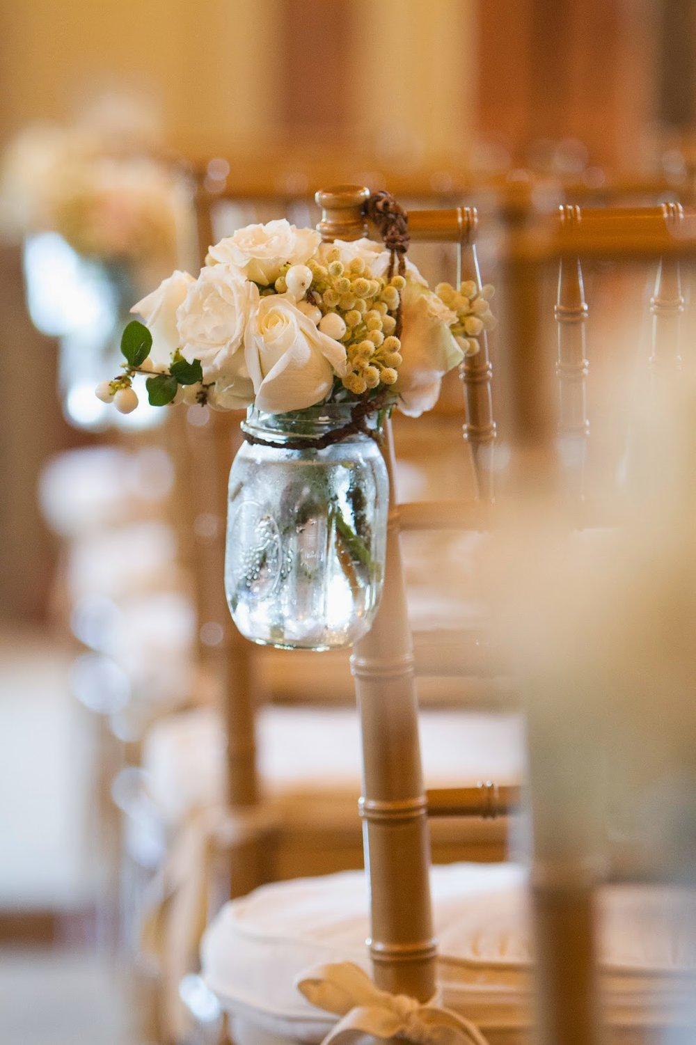 les fleurs : wedding florist : barn at gibbet hill : fall whiles fleurs : wedding florist : barn at gibbet hill : fall white mason jars from chairs for aisle