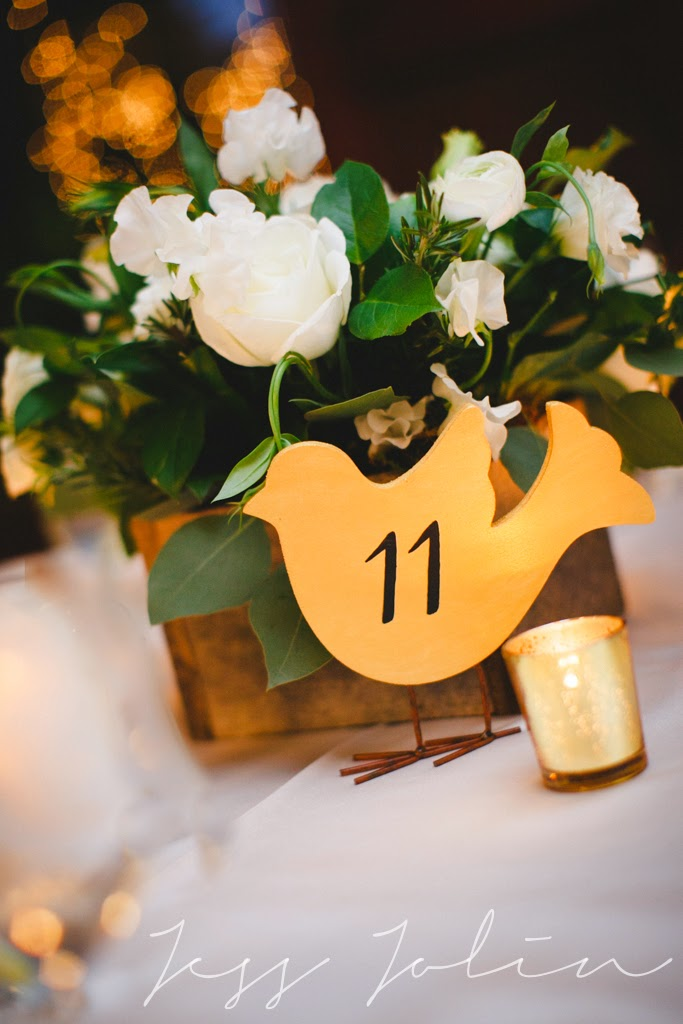 les fleurs : winter wedding : white, emerald, gold & champagne : reclaimed wood container : gold mercury votives