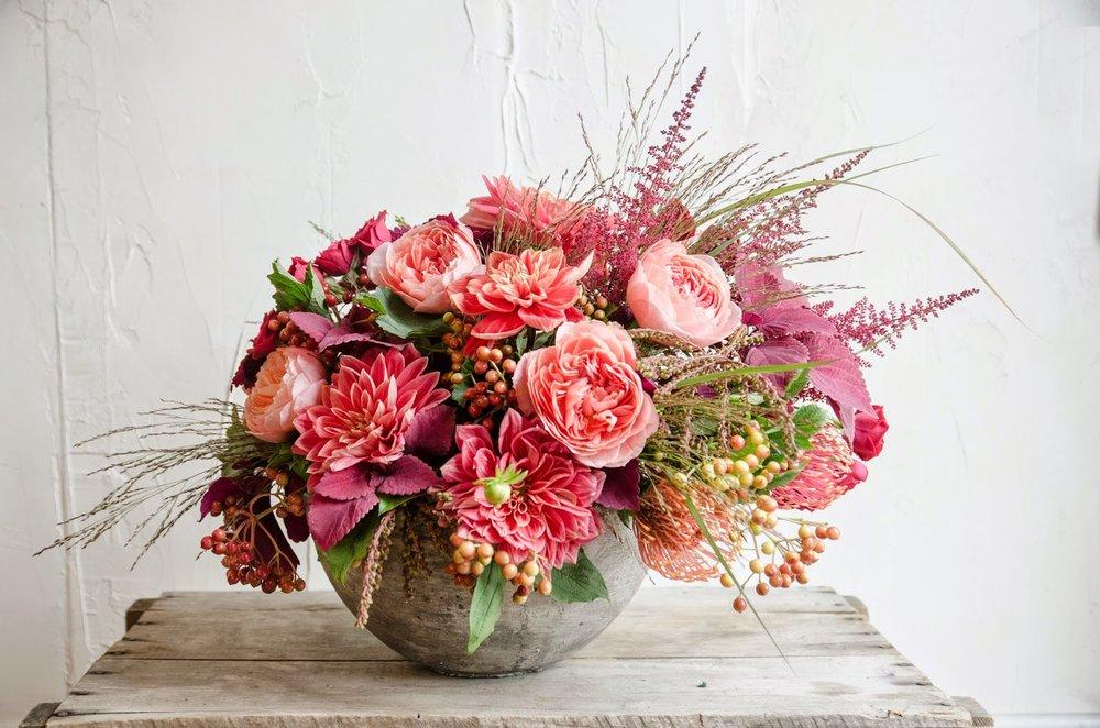 les fleurs : andover florist : fall arrangement : orange dahlia, salmon garden rose, berries, grasses, protea