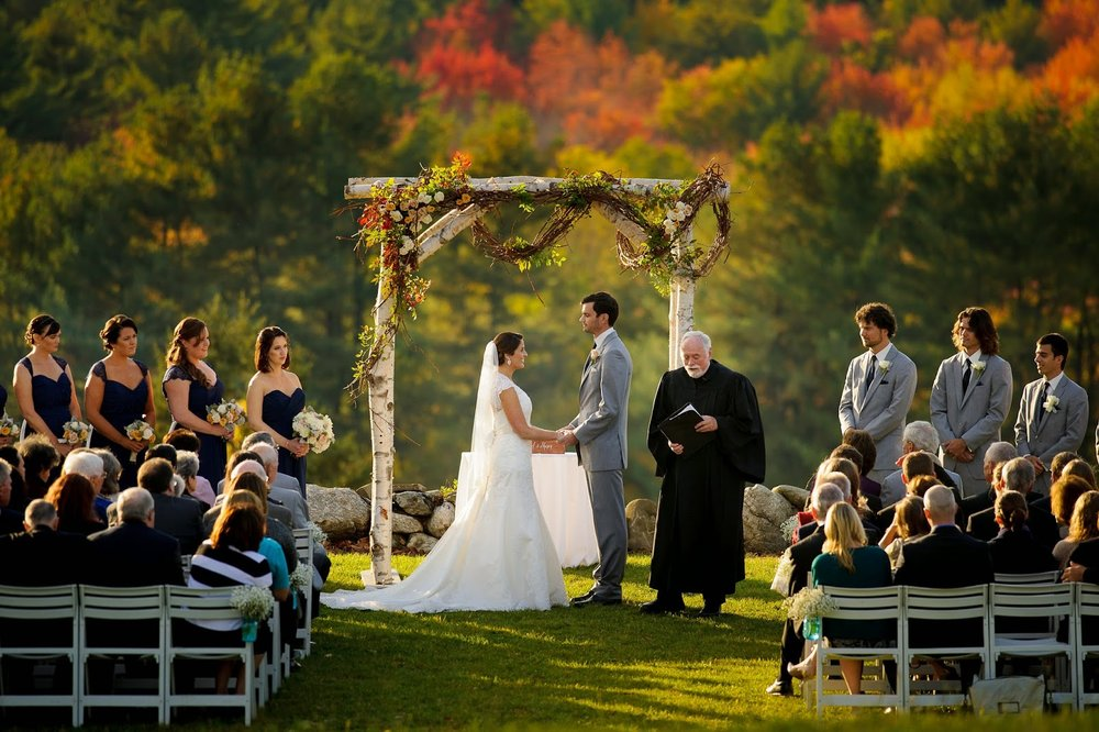 les fleurs : outside ceremomy : birch arbor : fruitlands : fall wedding