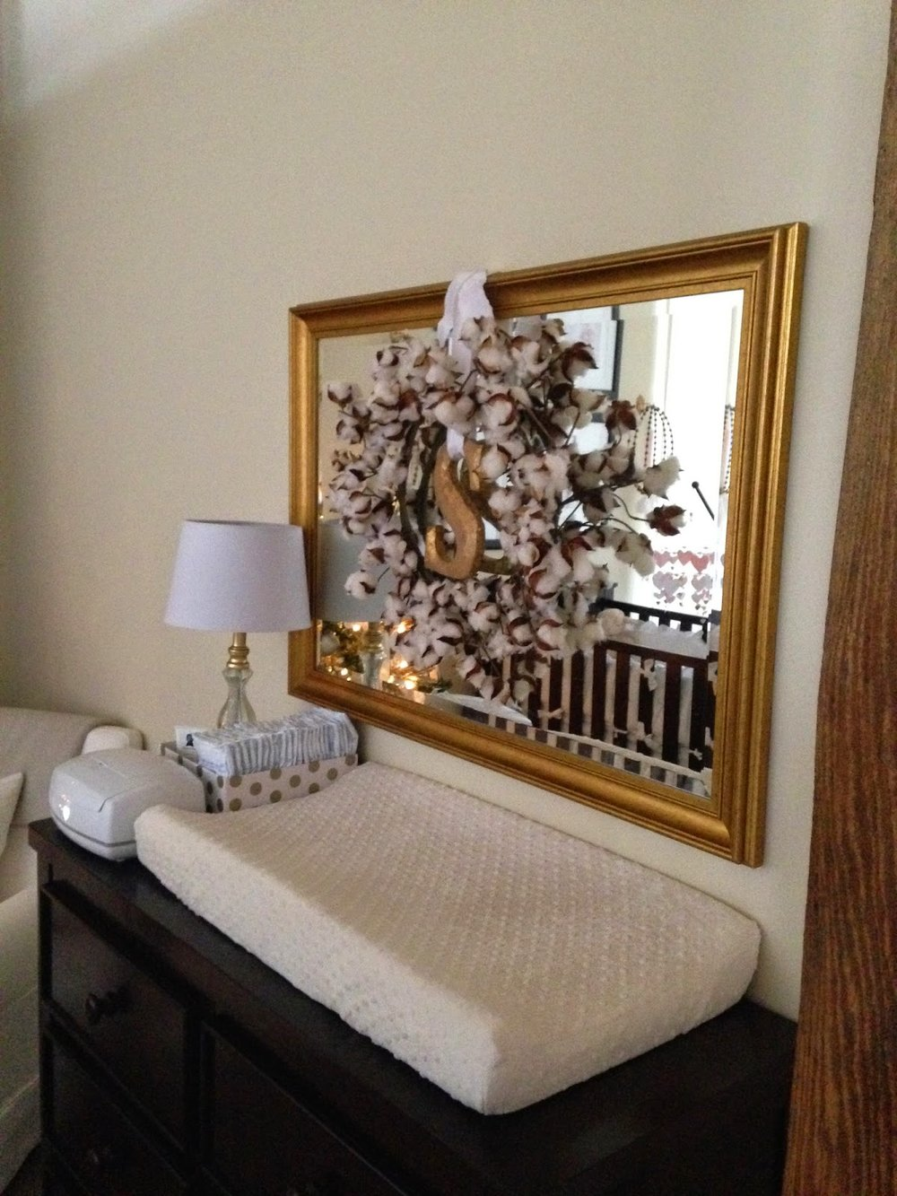 les fleurs : gold and silver : baby nursery : pale pink and white : christmas in the nursery : loft nursery : cotton monogram wreath