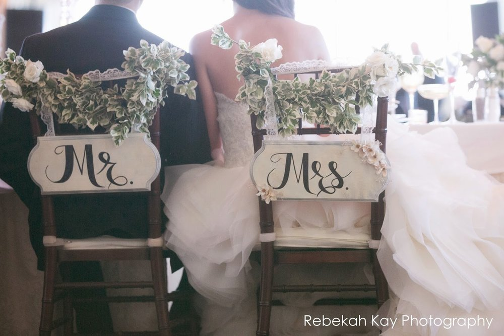 les fleurs : bride and groom chair signs : flowers for b&g chairs