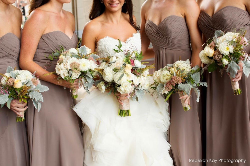 les fleurs : fall wedding : boston harbor hotel : latte bridesmaid dresses : romantic bouquets