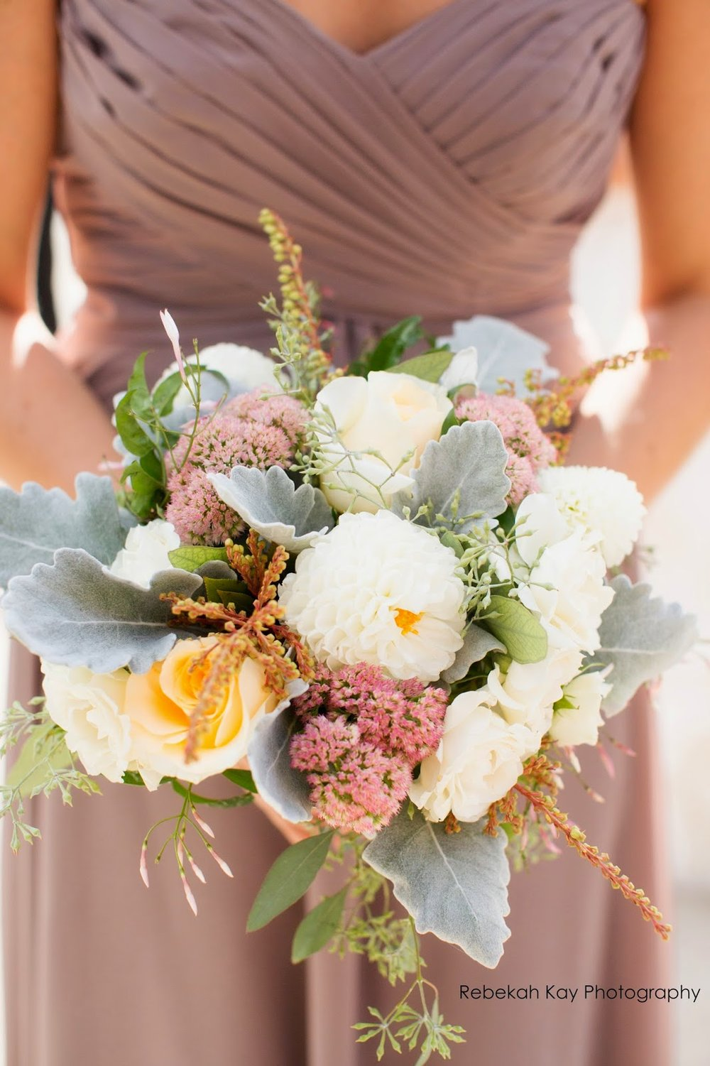 les fleurs : fall wedding : boston harbor hotel : latte bridesmaid dresses : romantic bouquets : sedum, dusty miller, dahlia, andromedia, roses