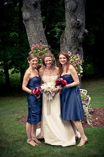 navy bridesmaid dresses with hot pink bouquets