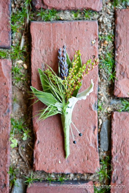 organic summer boutonniere, lavender and herbs : les fleurs : fruitlands museum : samatha melanson photography