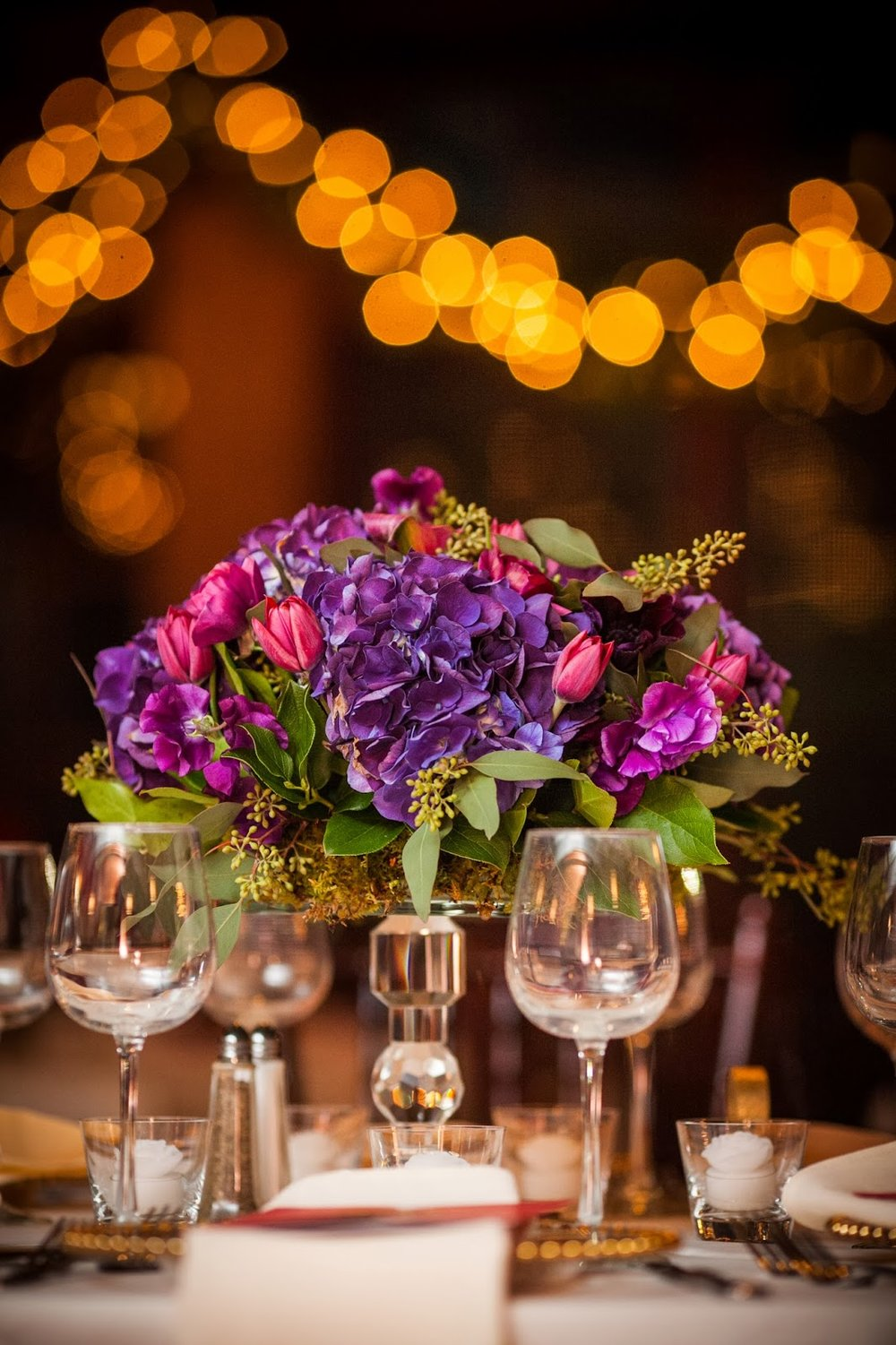 willowdale estate : les fleurs : purple arrangements : crystal cake stands