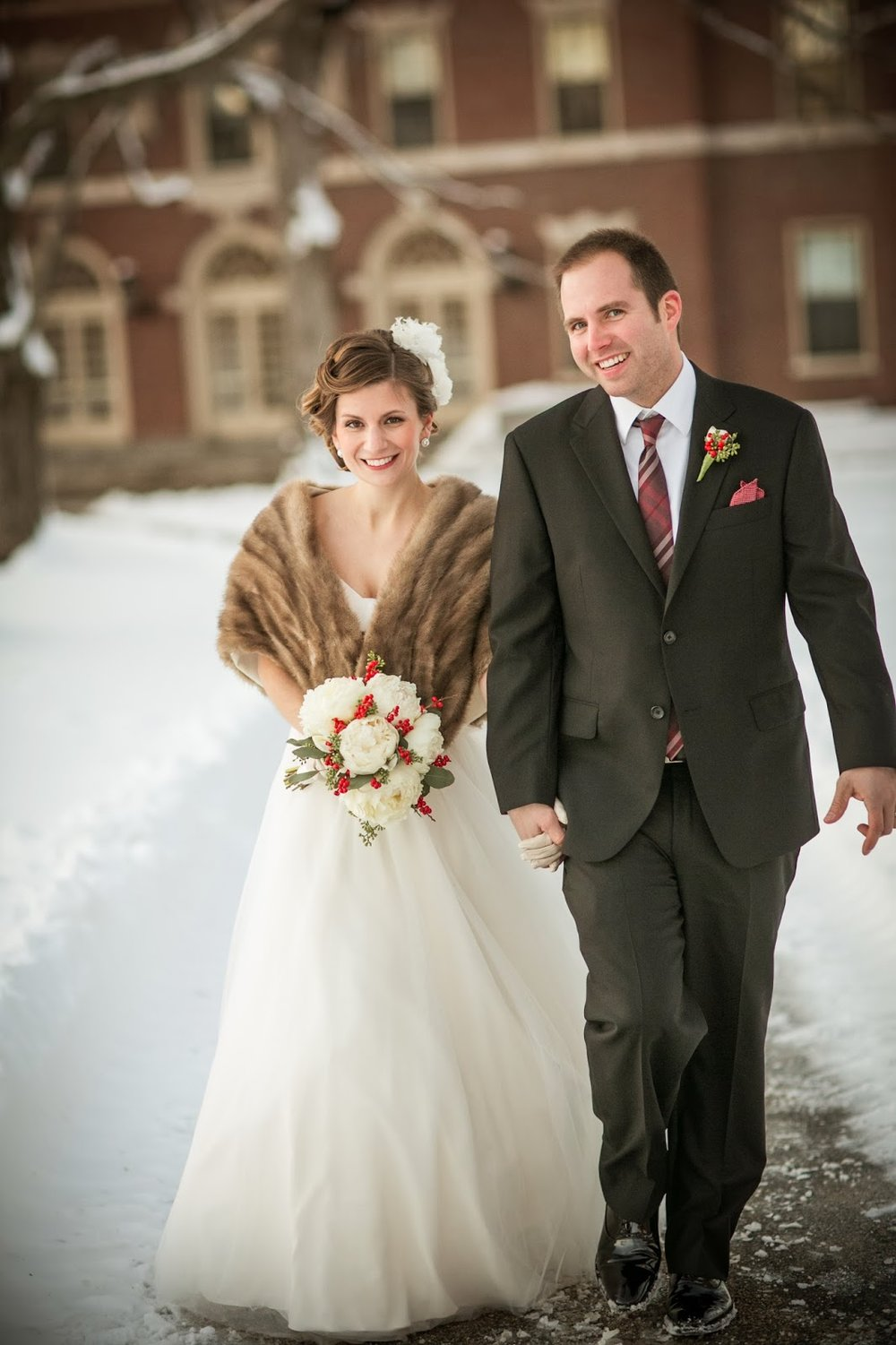 winter wedding : zev fisher photography : les fleurs : winter wedding in new england : mink shrug : white peonies, red ilex berries & seeded eucalyptus