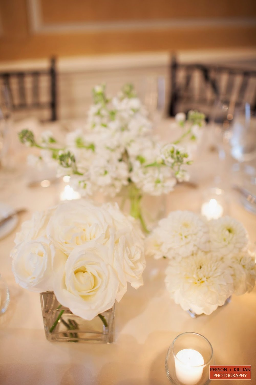 les fleurs : crane estate great house : person + killian photography : simple white centerpieces : square vases, white rose, white stock, white dahlia