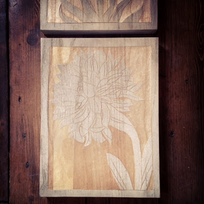 flowers carved into wood wall art