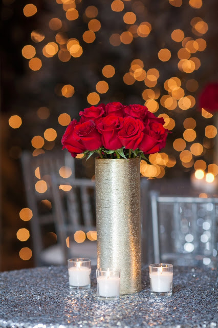 red roses, silver sequin linen, holiday party