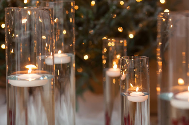 floating candles, holiday party