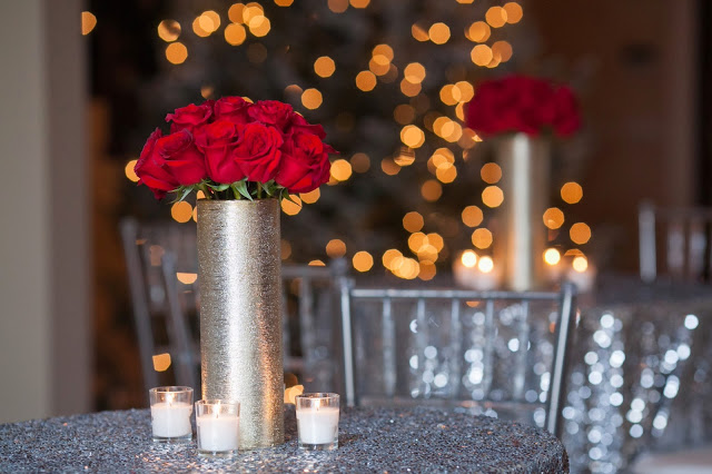 red roses on silver sequin linen