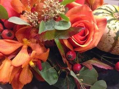 oranges for fall, fresh flowers
