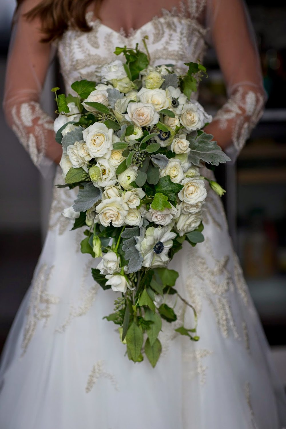 les fleurs : cascade bouquet : white and black anemone : boston public library : kari herer photography