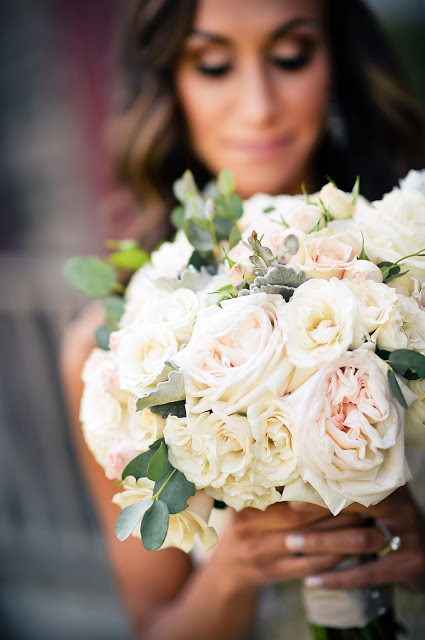 les fleurs : bridal bouquet : garden roses and eucalyptus : barn wedding