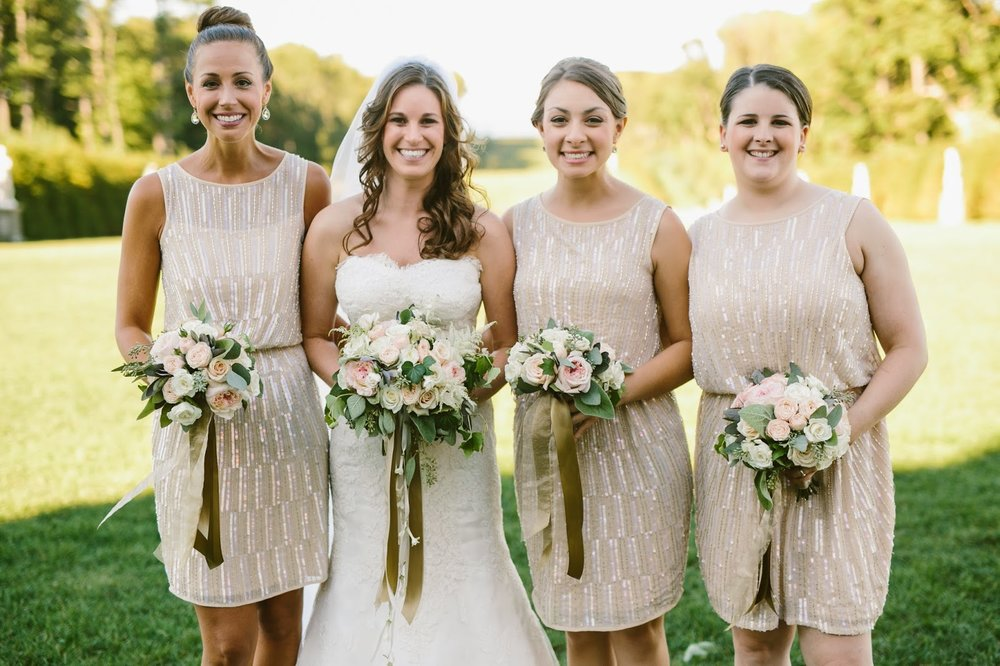 les fleurs : crane estate florist : estate wedding : champagne bridesmaid dresses : blush and ivory bouquets