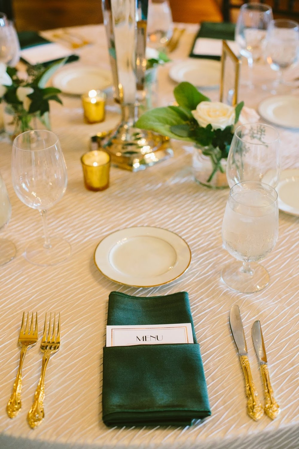 les fleurs : crane estate wedding : gold & silver : emerald napkin : gold flatware