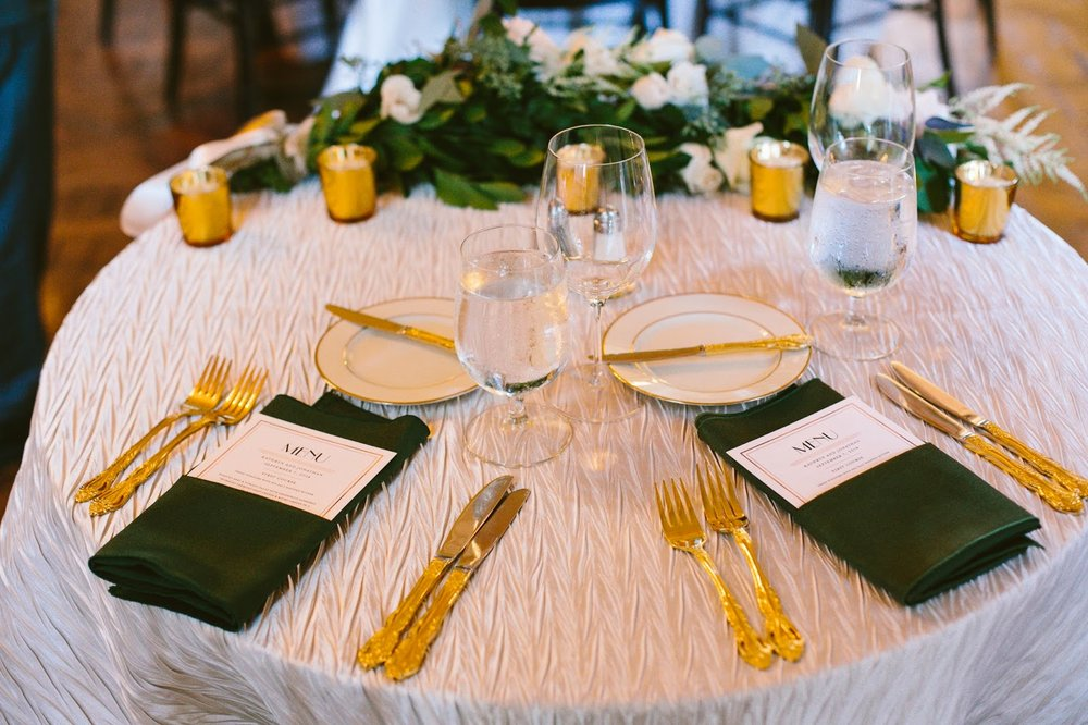 les fleurs : crane estate : silver hexagon pedestal : tall centerpieces : emerald green, blush and ivory : gold flatware : art deco wedding