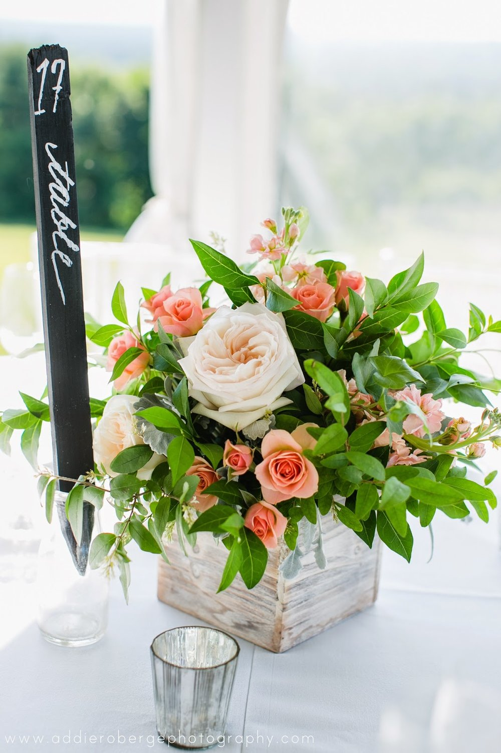 les fleurs : low centerpieces : garden arrangements : wooden boxes : peach, gray & green : tent wedding